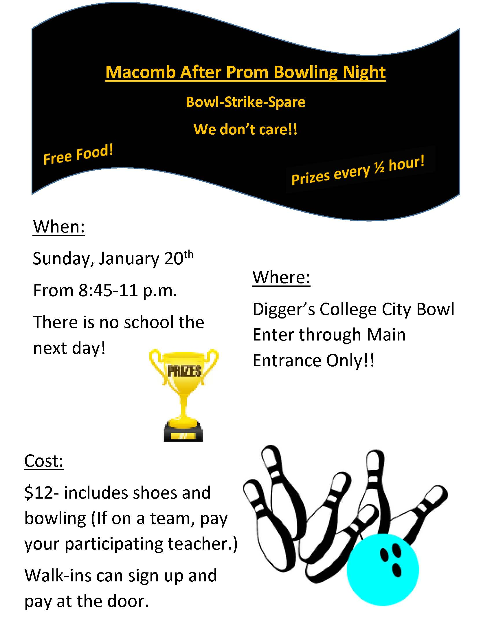 after prom bowling night flyer