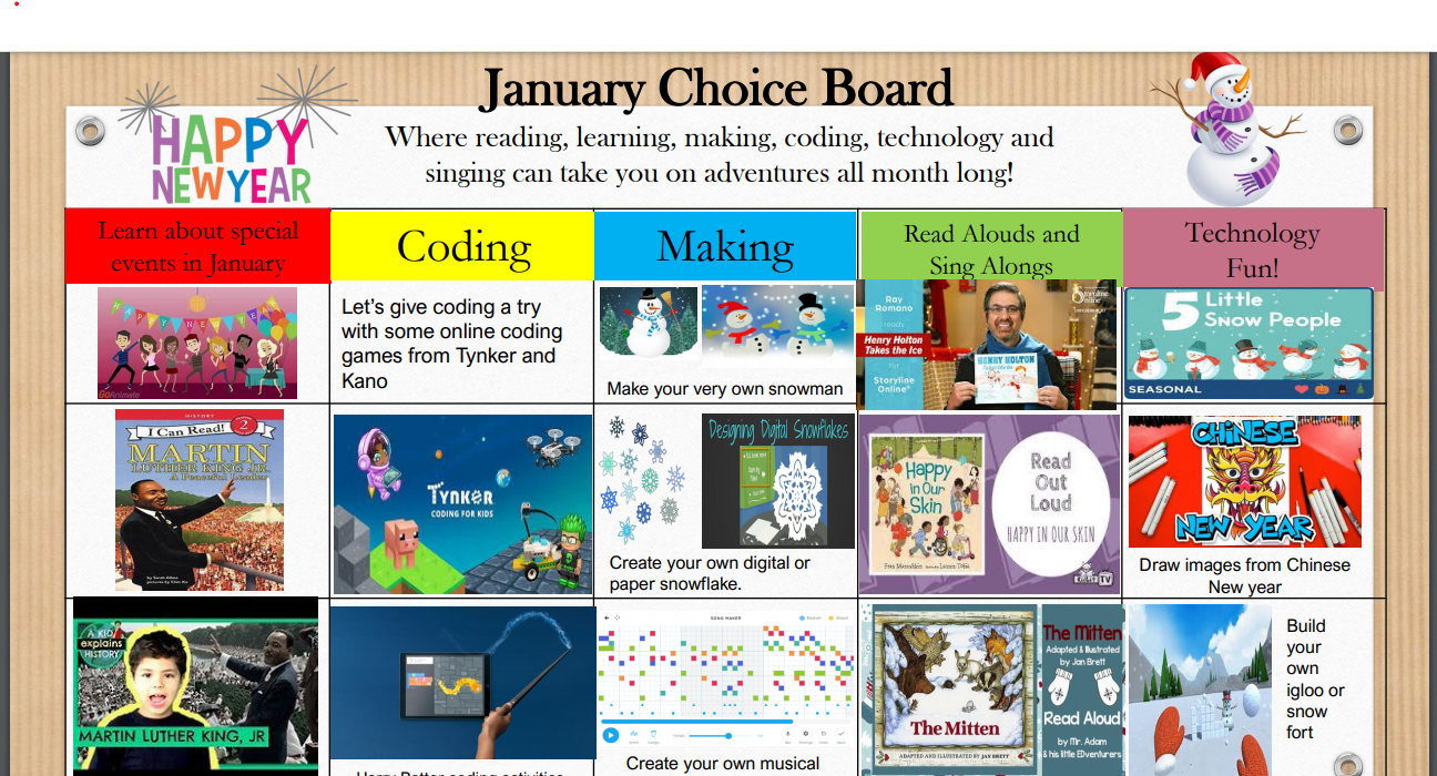 January Choice Board
